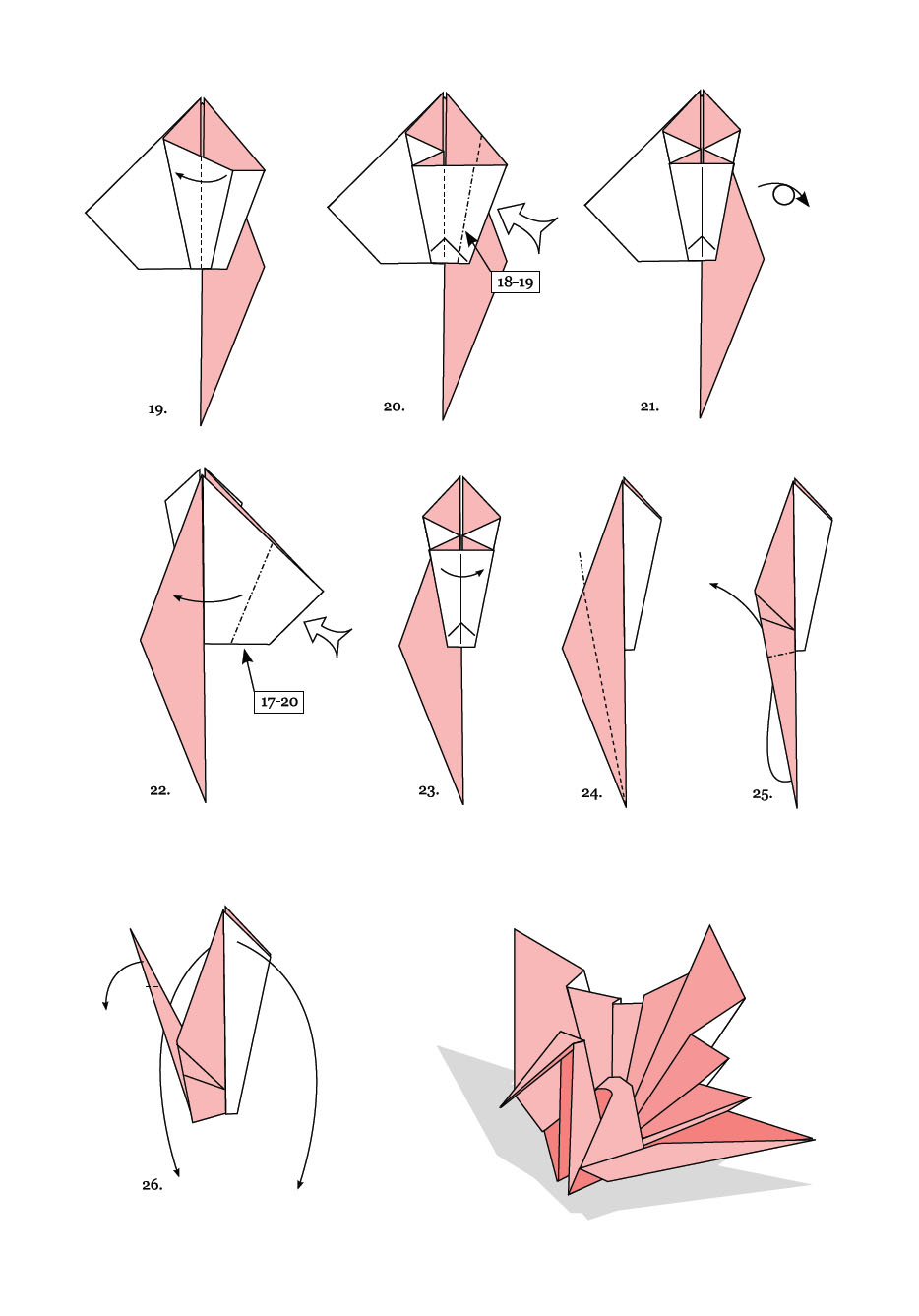 Origami instructions hiroshima swan by andrew hudson for Origami swan folding instructions