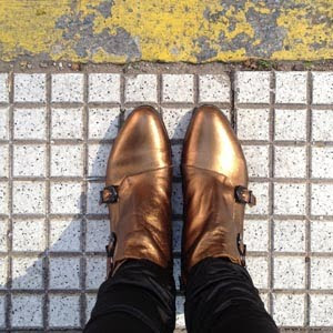 Botas metalizadas color bronce