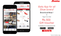 Bata Rs. 500 off on Rs. 501 Coupon on Downloading & Sign in Bata App