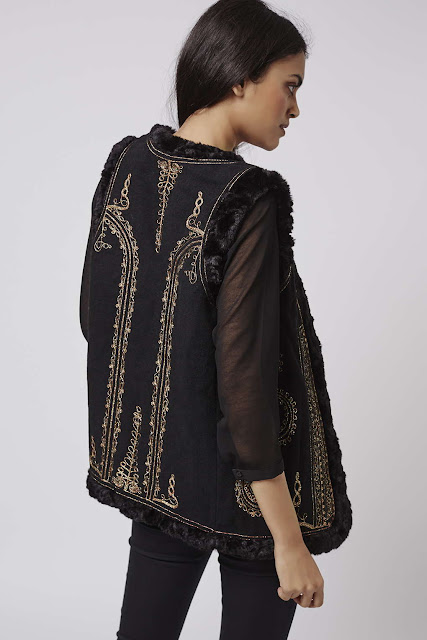 topshop embroidered gilet, embroidered suede waistcoat,