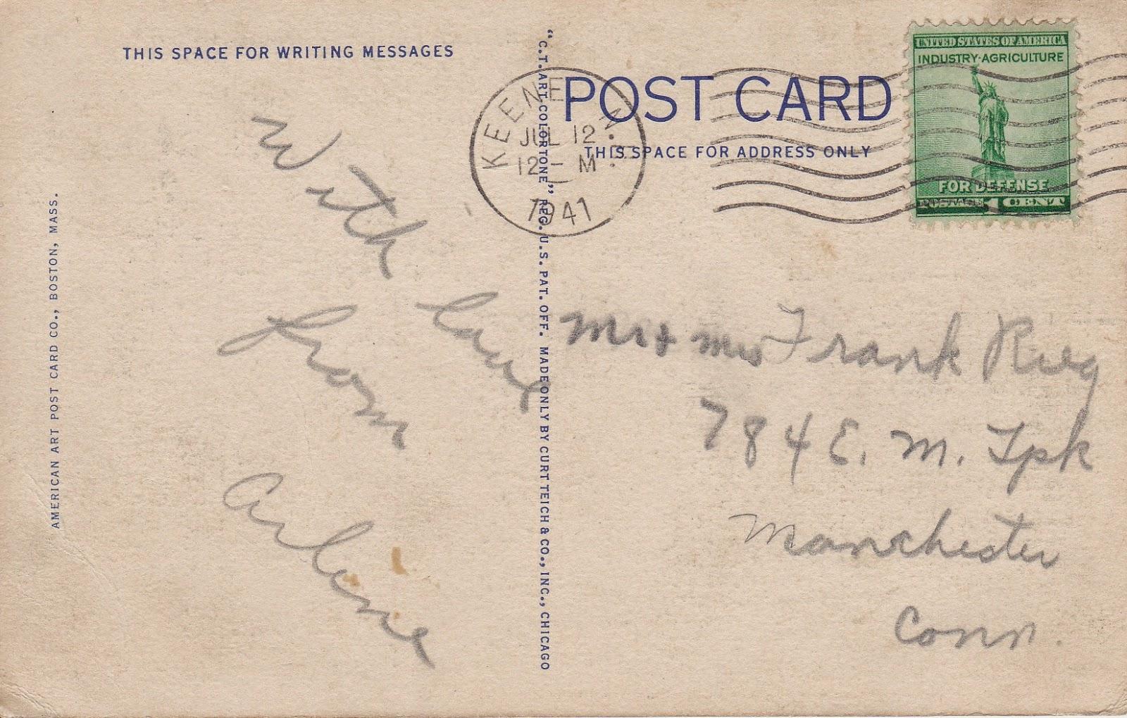 Surry Road, Keene New Hampshire Vintage Postcard