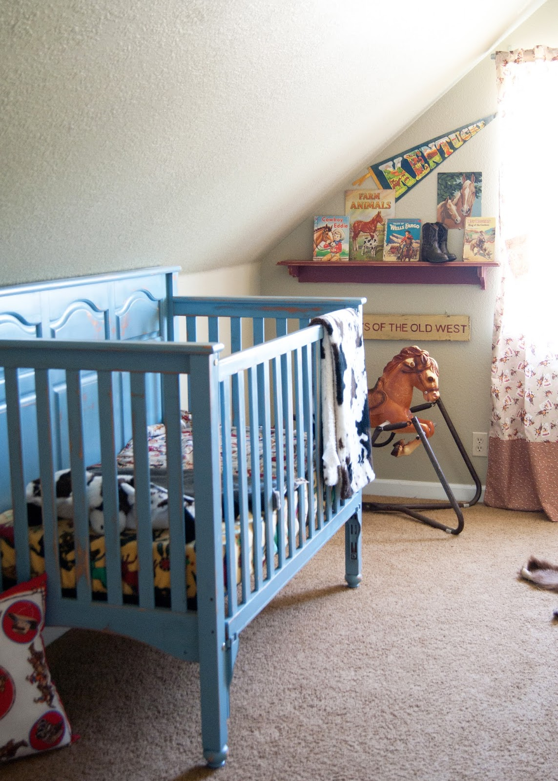 Blue crib - hand painted and vintage western decor