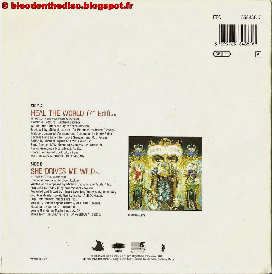Heal The World 45T Back Cover