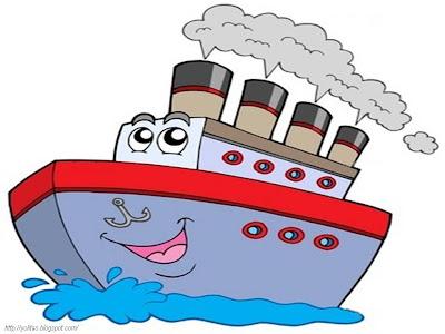 Desenho de Navio fofo colorido