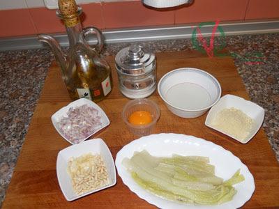 Ingredientes para las Pencas de acelga con salsa de almendras.