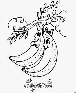 semaninha de frutas com rosto bananas segunda feira