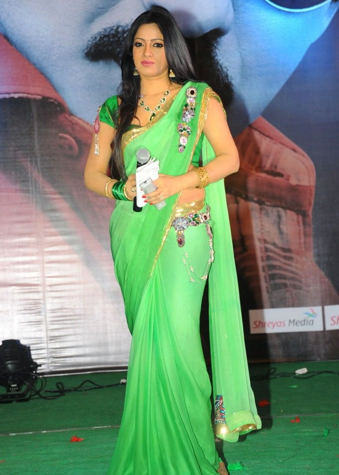 Udaya Bhanu in green saree - Udaya Bhanu Green Saree Hot Stils