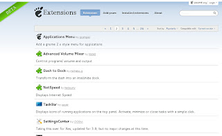 Screenshot of extensions.gnome.org