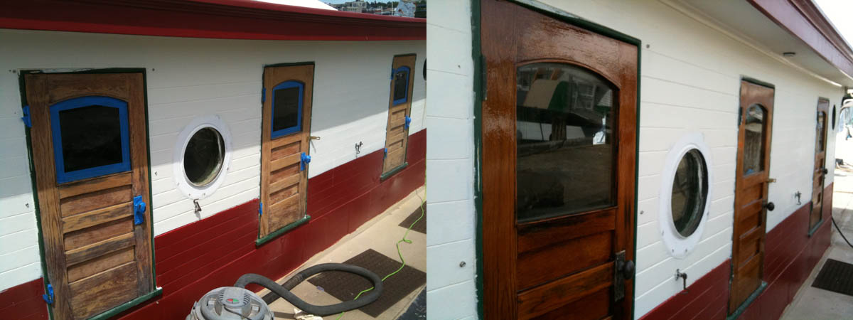 ... a new coat of paint to the cabin and start varnishing all the doors. The doors are the only real brightwork on the boat. But there are a lot of them. & Tugboat Iver: A little paint some varnish and a few bits of wood ...