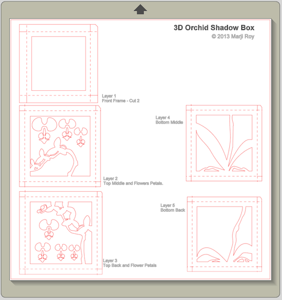 ashbee design silhouette projects 3 d orchid shadow box. Black Bedroom Furniture Sets. Home Design Ideas