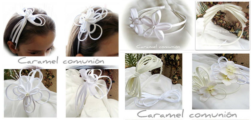 Lazos, flores y mariposas son las propuestas de Caramel para comunión