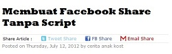 Membuat Facebook Share Tanpa Script