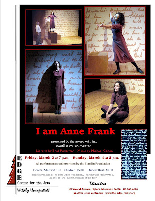 Edge center for the arts a young girl in peril the for Anne frank musical