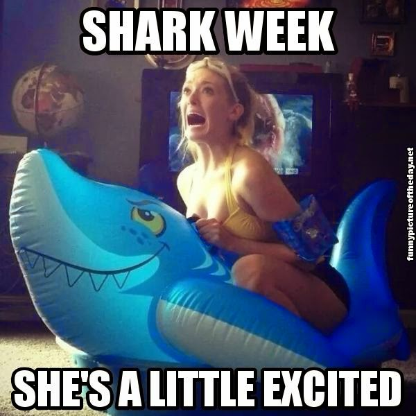 Shark Week She's Excited Funny Girl Shark Float With Arm Floaties