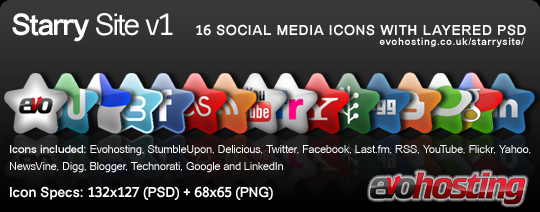 Starry SIite! New 16 Social Media Icons + PSD!