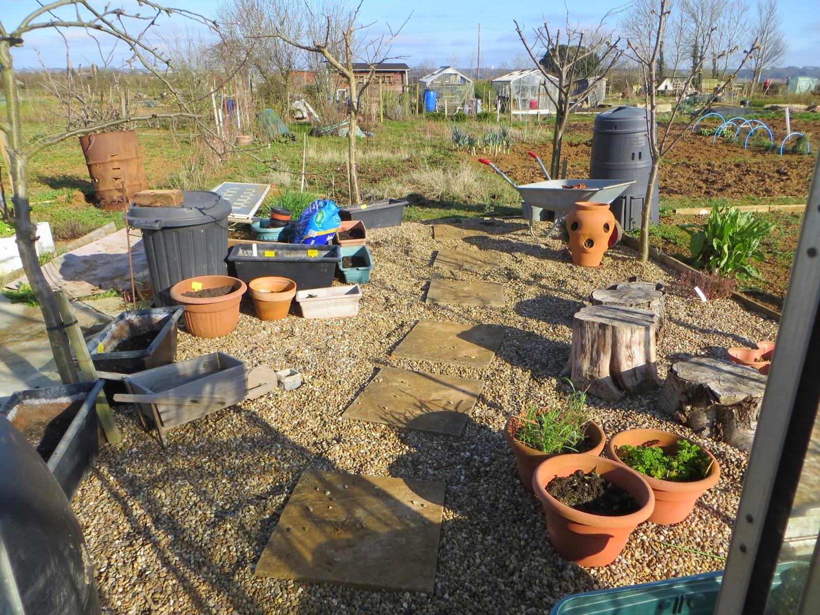 greenhouse gravel, pots, allotment