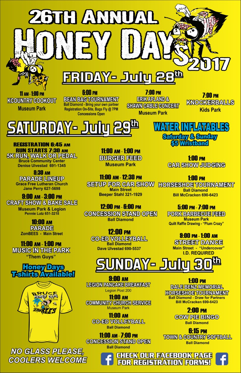 2017 Honey Days Schedule of Events!!