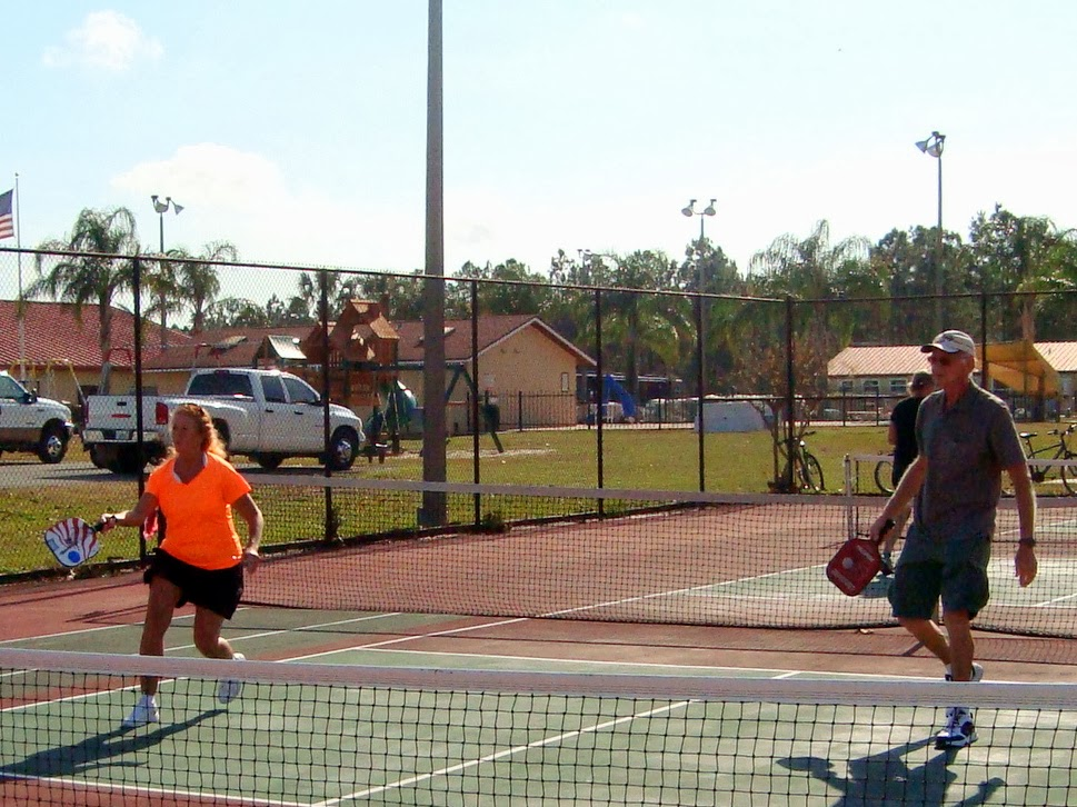 The above pictures showed the action on the three pickleball courts at