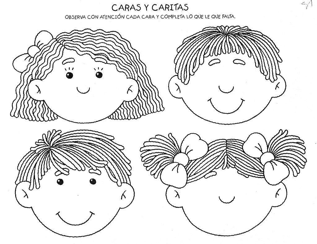 Dibujos para colorear de las partes de la cara en inglés - Imagui