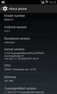 CyanogenMod 11 (Android 4.4.2) For ZTE Blade 3