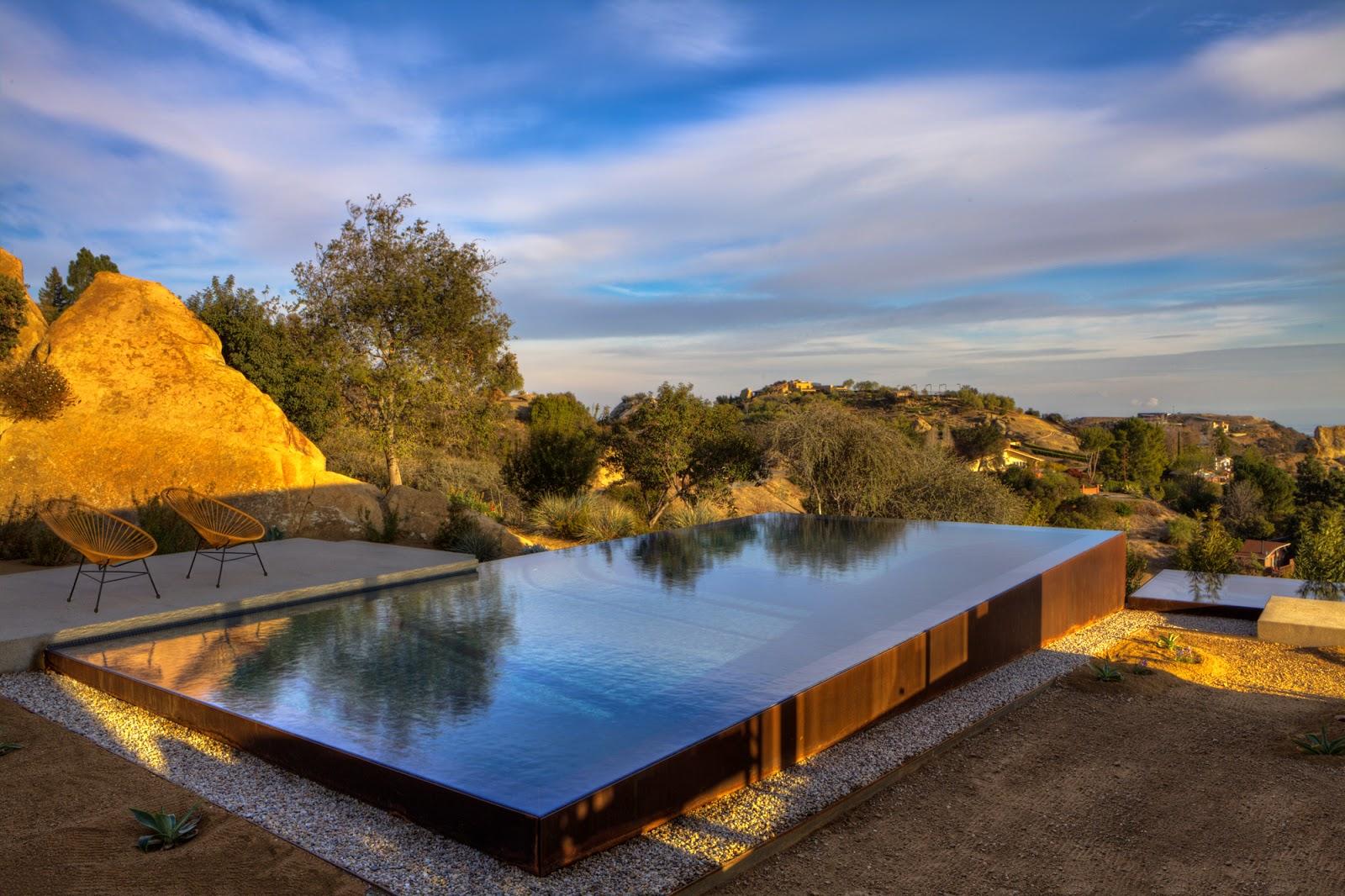 glass tile pool, glass tile spa, infinity edge pool, corten steel, Los Angeles, CA