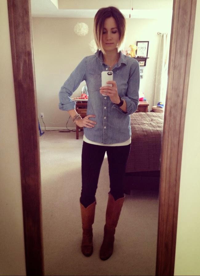 Chambray shirt, black ponte pants, tan vintage boots