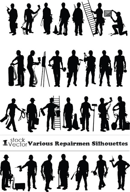 Vector Stock - Repairmen Silhouettes