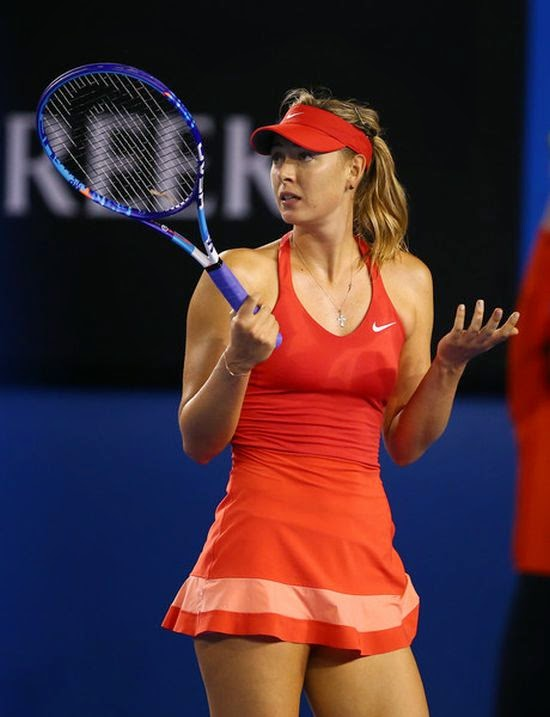 In all courageous color! Maria Sharapova keeping her fit and healthy in a red top and white tennis skirt as she thrashed Petra Matric on the first round of the 2015 Australian Open on Monday, January 19, 2015.