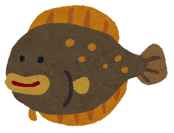 魚のイラスト「ヒラメ」 : 魚のイラスト 無料 : イラスト