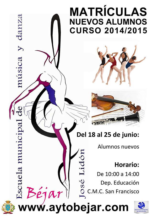 cartel anunciador de la escuela de musica y danza