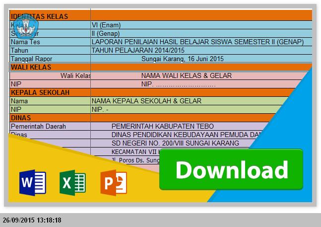 Aplikasi Pengisian dan Penilaian Raport KTSP SD dari Excel