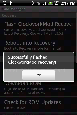 Installer ClockworkMod Recovery sur un Samsung Galaxy S