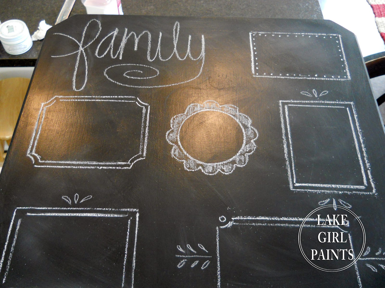 Lake Girl Paints: Chalkboard Photo Frames Painted on Side Table