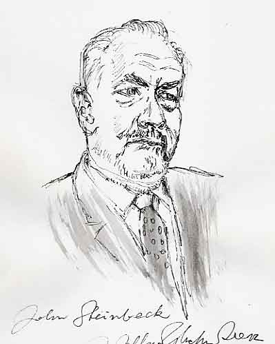 john steinbeck, drawing, by glechner