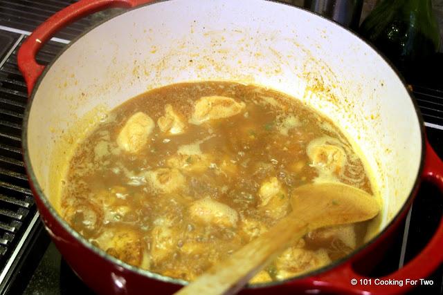 Simmer liquid away Chicken Carnitas AKA Carnitas de Pollo  from 101 Cooking For Two