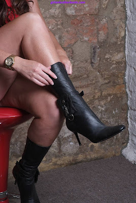Sexy little black boots with killer heels and Bondage Strap