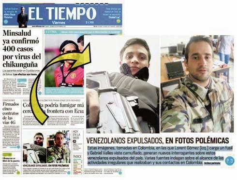 Portada diario El Tiempo de Colombia con Lorent Gómez Saleh