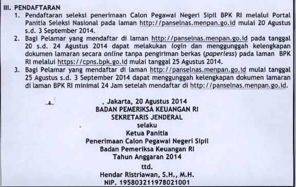 Lowongan CPNS Badan Pemeriksa Keuangan (BPK) RI Tahun 2014