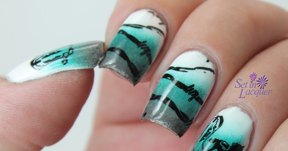Western Themed Stamped Nail Art Set In Lacquer