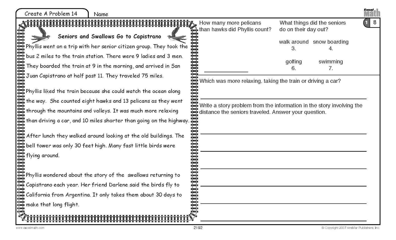 Worksheets Math Excel Worksheets excel math blog higher order word problems for students create a problem grade 2 math