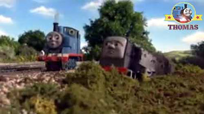 He found Dennis diesel Thomas the train shocked to see him off the rails and in the mud farm meadow