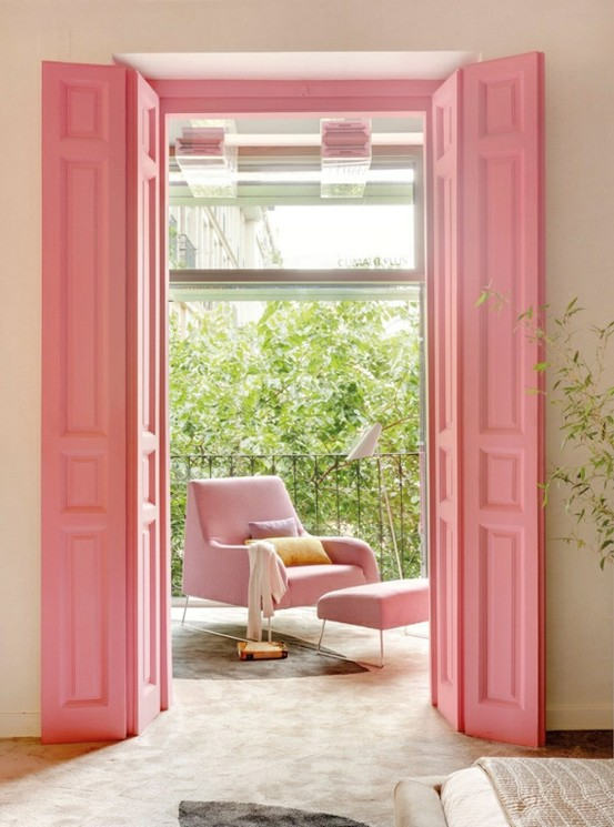 pink french doors sitting area pink accents