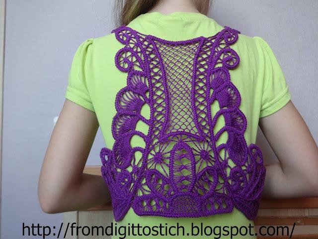 плетеное болеро из шнура-гусеничка