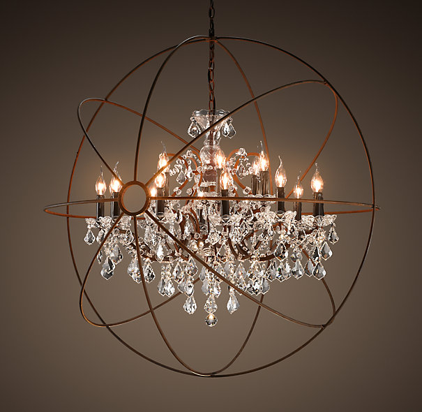 cat chic restoration hardware foucault 39 s orb crystal iron chandelier