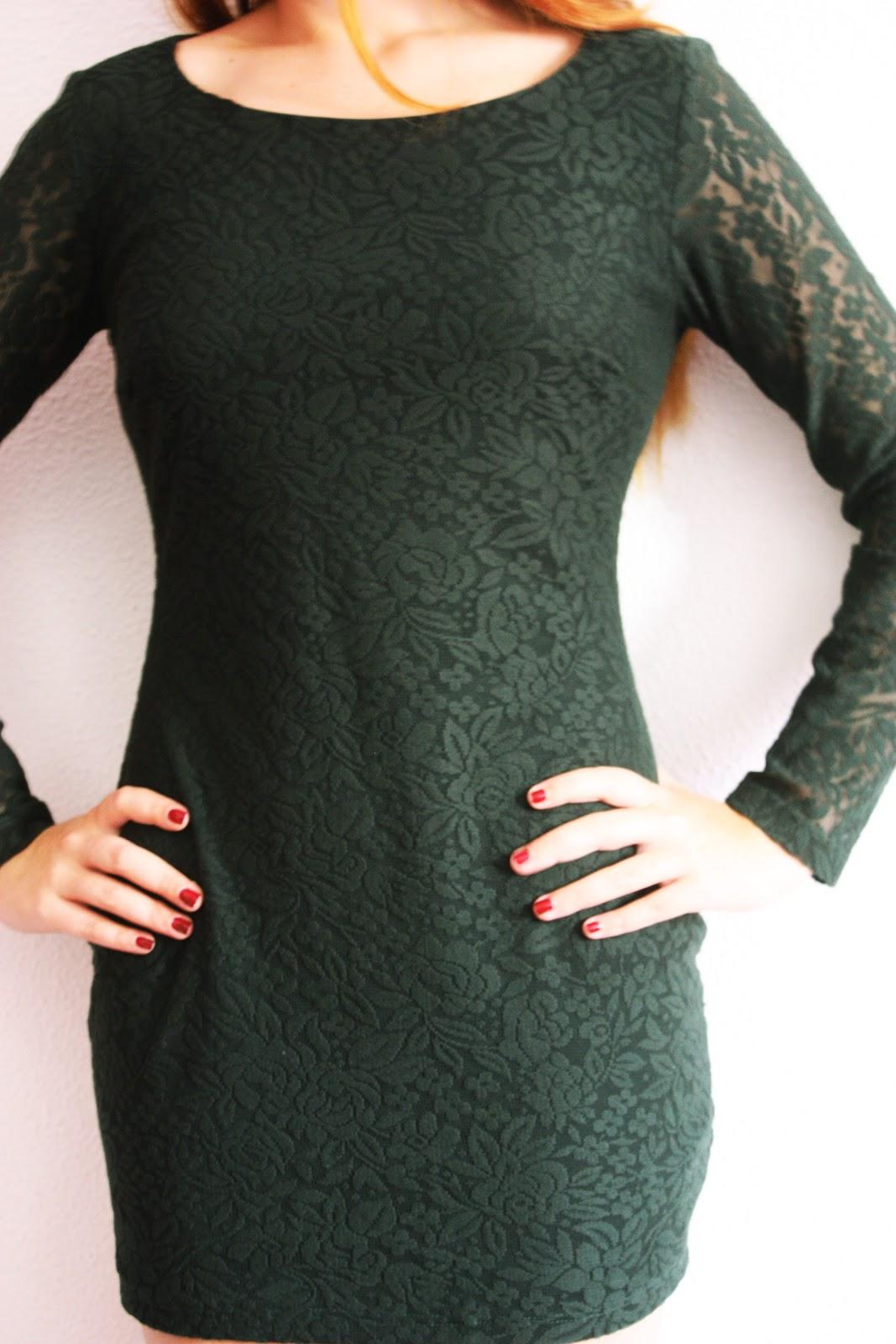 Vestido verde botella zara