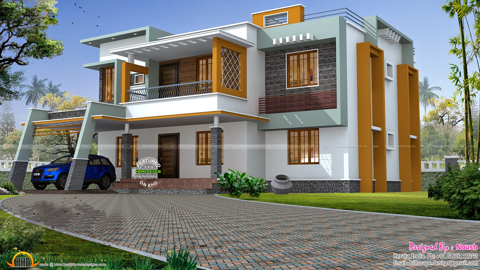 Box style house kerala home design and floor plans for Modern box house design