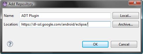 подключение репозитория Google, установка плагина ADT в Eclipse