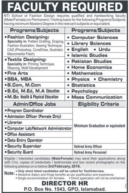 Admin & Teaching Jobs at NTI School of Fashion Design Islamabad