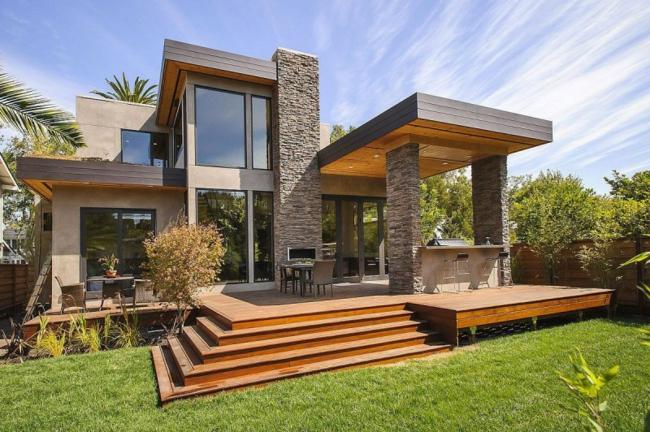 Casa Moderna Con Fachada De Piedra Y Mucha Luz Natural