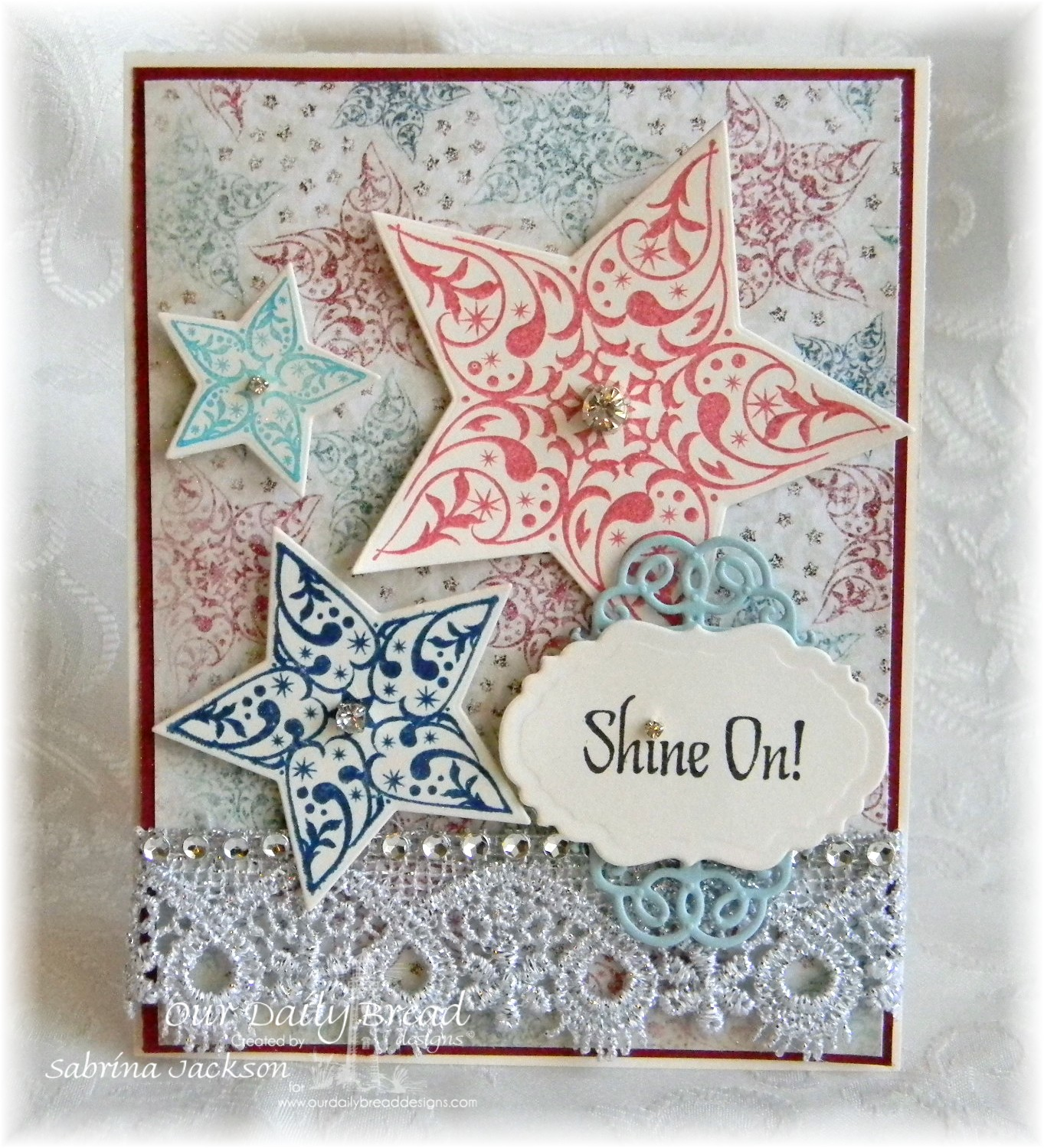 Stamps - Our Daily Bread Designs Shine On, ODBD Custom Sparkling Stars Dies, ODBD Custom Vintage Labels Dies, ODBD Custom Vintage Flourish Pattern Die